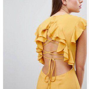 Lattice Back Pencil Dress with Ruffle
